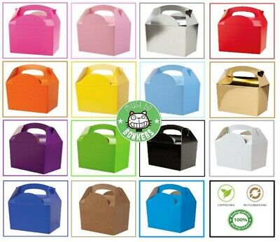 £1.29 • Buy Plain Coloured Party Boxes Children Kids Food Meal Lunch Gift Birthday Box Bags