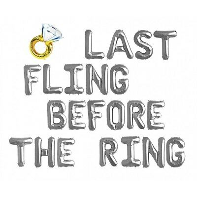AU49.95 • Buy Hens Night Balloons Silver  - LAST FLING BEFORE THE RING WITH A DIAMOND RING