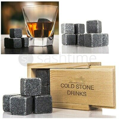 £66.95 • Buy 8Pcs Whiskey Ice Stones Drink Cooler Cubes Granite Scotch Pouch Rocks Domino Box