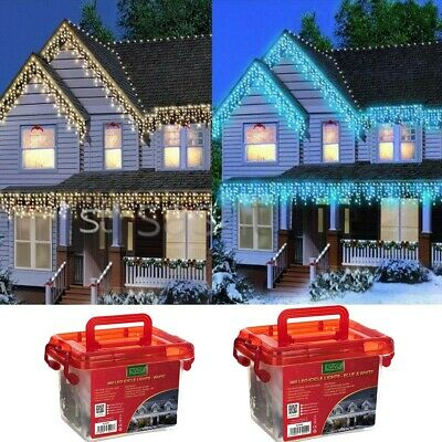 Christmas 480/720/960/1200 Led Icicle Snowing Xmas Chaser Lights Outdoor In Tub • 119.95£