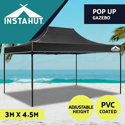 AU149.90 • Buy Instahut Gazebo Pop Up Marquee 3x4.5 Outdoor Tent Folding Wedding Gazebos Black