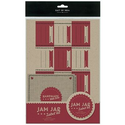 East Of India Jam Jar Label Kit -12 Labels/12 Covers/Roll Of Ribbon- Shabby Chic • 4.99£