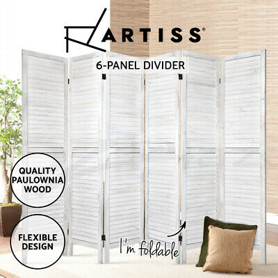 AU159.95 • Buy Artiss 6 Panel Room Divider Screen Bed Privacy Wood Foldable Stand Timber White