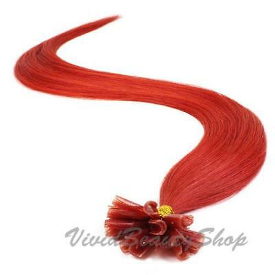 $62.99 • Buy 50 Red Pre Glued Bonded U Nail Tip Keratin Fusion Remy Human Hair Extensions 22