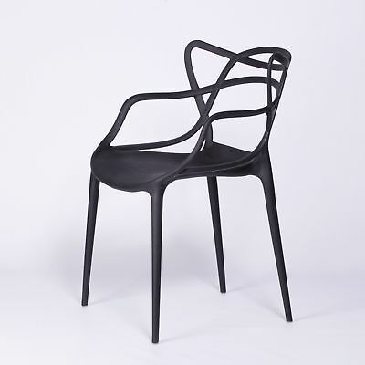 £46 • Buy Masters Inspired Modern Black Stackable Dining Chair Bar Restaurant