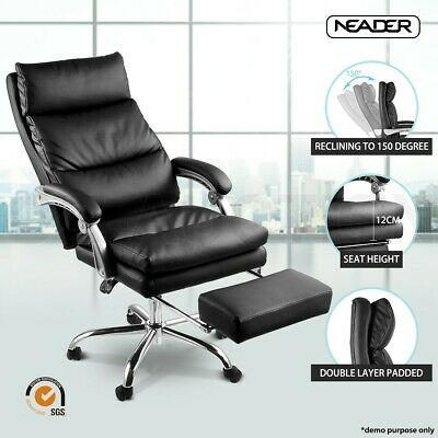 AU209.95 • Buy Executive Office Chair Ergonomic Reclining PU Leather Computer Seat W/Footrest