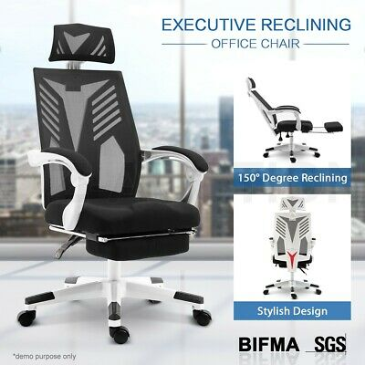 AU139.95 • Buy Executive High Back Office Computer Mesh Work Chair With Retractable Footrest