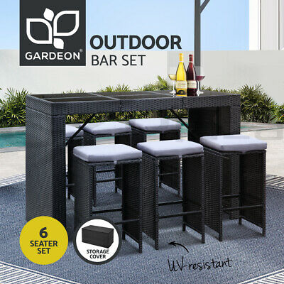 AU699.95 • Buy Gardeon Outdoor Furniture Dining Bar Table 6 Chairs Stools Set Patio Lounge