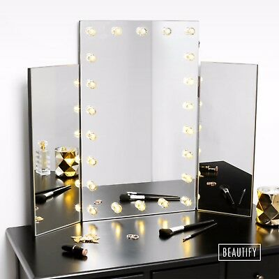 Beautify Tri Fold Mirror Hollywood Dressing Table Vanity Makeup LED Light • 54.99£