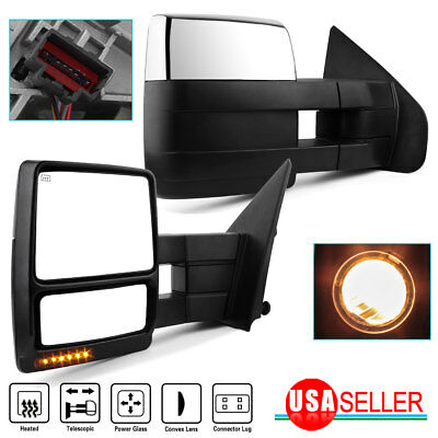 $139.49 • Buy For Left+Right 07-14 Ford F150 Power+Heated+LED Signal+Puddle Tow Side Mirrors