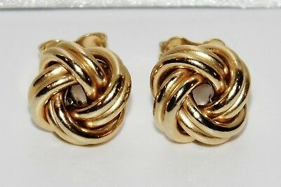 9ct Gold & Silver Celtic Knot Ladies Stud Earrings • 10.95£