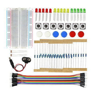 Electronics Starter Kit Breadboard Jumper Wires Resistors LED Buttons Sensors • 4.25£
