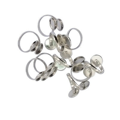 £4.18 • Buy 10pcs Cabochon Ring Setting Ring Blanks Double Tray 12mm Base Brass Craft