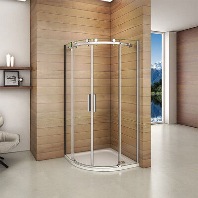 Luxury Frameless 900x900mm Quadrant Shower Enclosure Sliding Door+Tray+Waste FBG • 137.60£