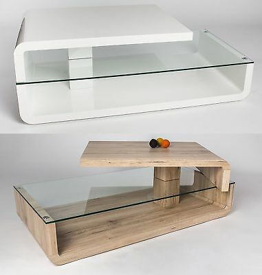 MCA  Tilo  Designer Coffee Table In Wood & Glass With Rotating Top Shelf • 149£