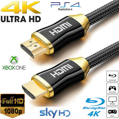 Premium 4k Hdmi Cable 2.0 High Speed Gold Plated Braided Lead 2160p 3d Hdtv Uhd • 8.95£