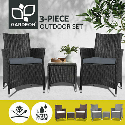 AU246.95 • Buy Gardeon Outdoor Furniture Setting 3 Piece Wicker Bistro Set Dining Chairs Patio