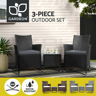 AU269 • Buy Gardeon Patio Furniture Outdoor Setting 3 Piece Bistro Set Dining Chairs Wicker