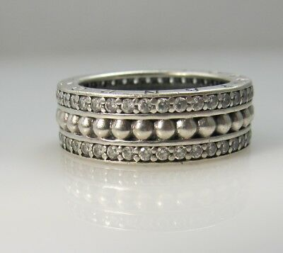 £57.38 • Buy Forever Pandora Sterling Silver Cz Eternity Band Ring Size 7 1/2