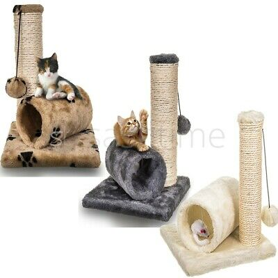 £9.95 • Buy Cat Kitten Sisal Scratch Post Bed Toy With Tunnel & Mouse Pet Activity Play Fun