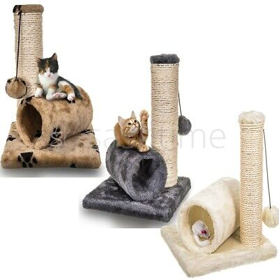 Cat Kitten Sisal Scratch Post Bed Toy With Tunnel & Mouse Pet Activity Play Fun  • 8.95£