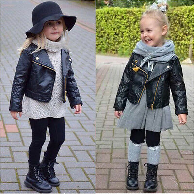 Autumn Winter Kids Baby Boys Girls Leather Jacket Short Overcoat Clothes Outwear • 13.61£