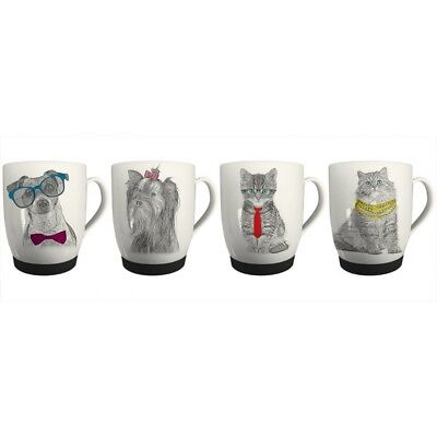 New Bone China Mugs Set Of 4 Cat & Dog Design Coffee Home Kitchen Office Cups • 10.99£