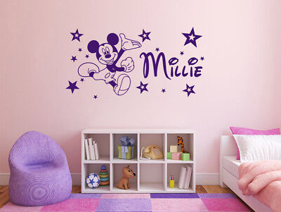 PERSONALISED Disney Mickey Mouse Name Wall Art Sticker, Modern Decal, Modern PVC • 10.95£