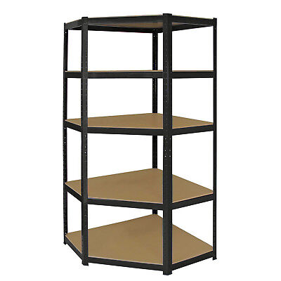 5 Shelf Heavy Duty Boltless Corner Shelving Unit Garage Shed Shop Display Rack • 38.95£