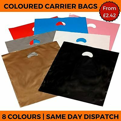 Coloured Plastic Carrier Bags - Handle Shop Gift Retail Boutique Strong Party  • 4.01£