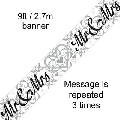 Mr & Mrs Wedding Day 9ft Foil Banner • 2.49£