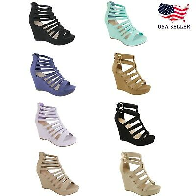 a1d5afadaa0 NEW Women Gladiator Wedge Strappy Sandal Open Toe High Heel Platform Party  Shoes • 19.19
