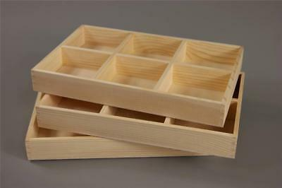 Wooden Tray Box 6 Compartment Display Storage Section Jewellery Keepsake • 8.99£