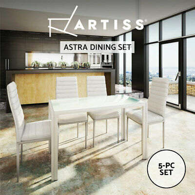 AU195.95 • Buy Artiss Dining Chairs And Table Dining Set 4 Chair Set Of 5 Glass Top Leather