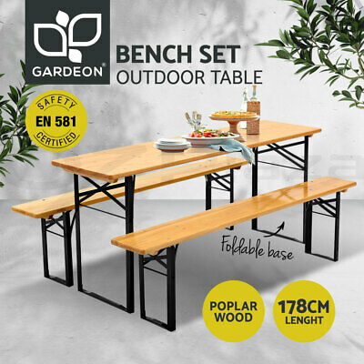 AU229.95 • Buy Gardeon Outdoor Furniture Setting Table And Chairs 3 PCS Patio Bench Garden Camp