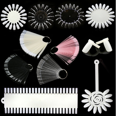 False Nail Tips Practice Display Color Card Ring Clear White  Tools • 0.99£
