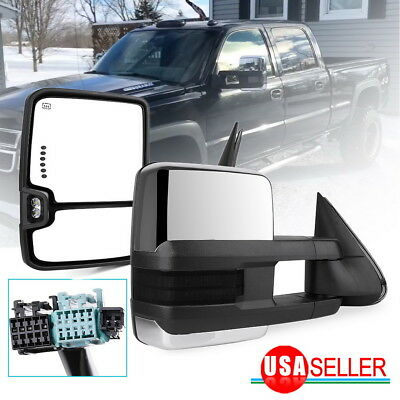 $140.99 • Buy Tow Mirrors For 03-06 Chevy Silverado Sierra Chrome Power Heated Smoke Signals