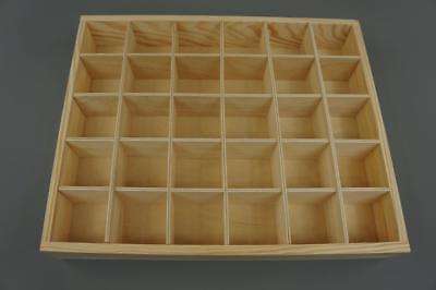 Wooden Tray Box 30 Compartment Display Storage Section Jewellery Keepsake  30-BW • 12.99£