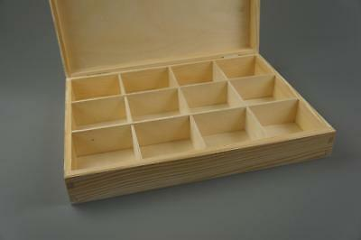 Wooden Tray Box 12 Compartment Display Storage Section Jewellery Keepsake 12-COM • 14.99£