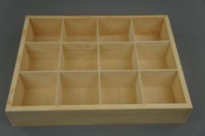 Wooden Tray Box 12 Compartment Display Storage Section Jewellery Keepsake 12-BW • 12.99£