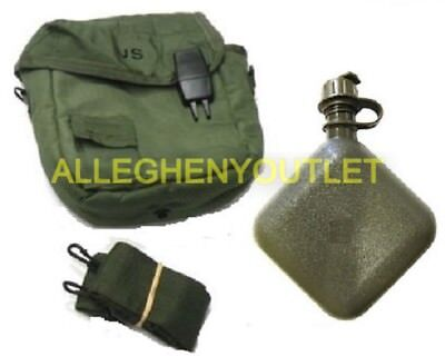 $ CDN22 • Buy 2 Qt OD Collapsible Canteen W/ 2 Qt OD Canteen Cover MINT US Military Issue