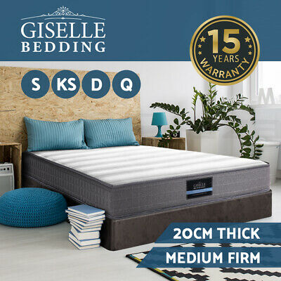 AU179 • Buy Giselle Mattress Queen Double King Single Mattresses Bonnell Spring Firm 20cm