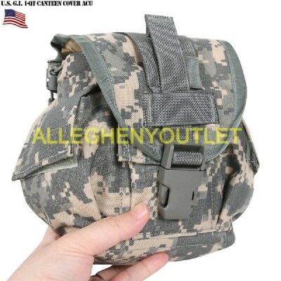 $ CDN10.59 • Buy 1 Qt Canteen Cover Genuine US Military W/ Outside Pockets MOLLE USGI ACU EXC