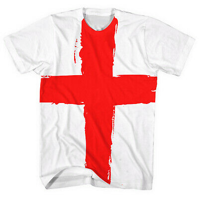 England Flag All Over T-Shirt St Georges Day Patriotic English Red Cross L261 • 12.95£