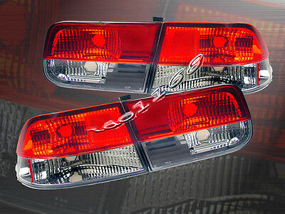$82.99 • Buy Fit For 1996-2000 Honda Civic Tail Lights Red Clear 2D Coupe 99 98 97