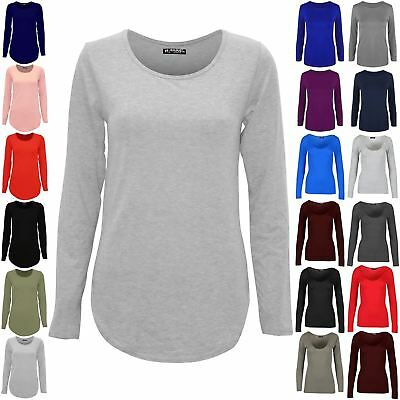 Womens Ladies Plain Casual Long Sleeve Curved Hem Stretchy Jersey T Shirt Top • 3.61£