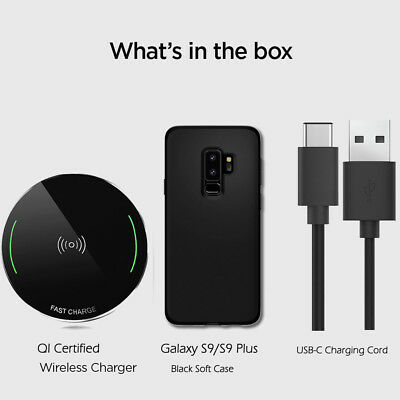 $ CDN37.99 • Buy For Samsung Galaxy S9/S9 Plus | QI Wireless Charger Pad+Case+USB-C Charging Cord