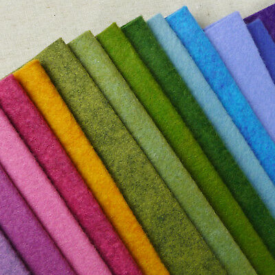 Woolfelt ~ Meadow / Wool Blend Felt Fabric Pink Green Heathered Mustard Blue • 3.50£
