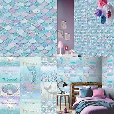 Mermazing Ice Blue Wallpaper Scales Glitter Mermaid Collage Typography Arthouse • 13.99£