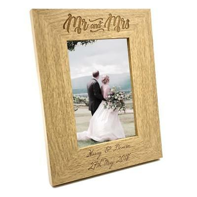 £11.99 • Buy Personalised Engraved Mr And Mrs Wooden Photo Frame Wedding Gift FW139